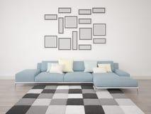 Quadros vazios em um sofá Foto de Stock Royalty Free