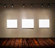 Quadros vazios na sala grande da galeria Foto de Stock Royalty Free