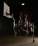 Quadruple moves of a basketball Royalty Free Stock Images