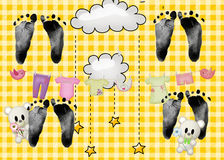 Quadruplet Footprints Stock Photos