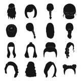 Quads, blond braids and other types of hairstyles. Back hairstyle set collection icons in black style vector symbol Royalty Free Stock Image