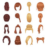 Quads, blond braids and other types of hairstyles. Back hairstyle set collection icons in cartoon style vector symbol Royalty Free Stock Photos