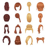 Quads, blond braids and other types of hairstyles. Back hairstyle set collection icons in cartoon style vector symbol Royalty Free Stock Photo