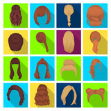 Quads, blond braids and other types of hairstyles. Back hairstyle set collection icons in flat style vector symbol stock Stock Images