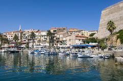 Quai Adolphe Landry in Calvi. Harbour with moored fishing- and leisure boats at Quai Adolphe Landry in Calvi. Haute-Corse, Corsica, France, Europe Stock Image