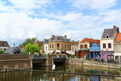 Quai Belu, Saint Leu Quarter in Amiens, France Stock Photography
