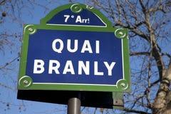 Quai Branly Straßenschild Lizenzfreie Stockbilder