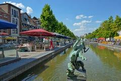 Quai de Bois en Bruler fyrkant i Bryssel Fotografering för Bildbyråer
