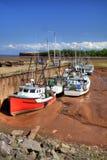 Quai de Delhaven avec des bateaux à marée basse Image stock