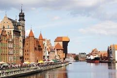 Quai de fleuve de Motlawa à Danzig, Pologne Photos stock