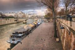 Quai de Montebello. On sunset. France. Paris Stock Image