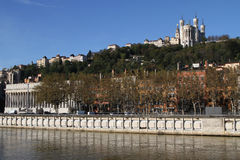 Quai de Saone and Fourviere Basilica Stock Photography