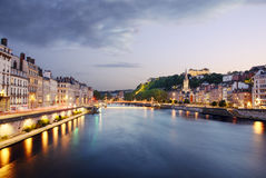 Quai de Saone of Lyon at sunset, France Royalty Free Stock Photo