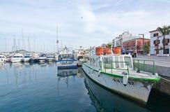 Quai et promenade de port d'Ibiza Image stock