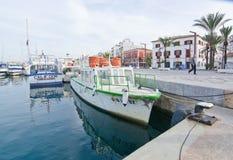 Quai et promenade de port d'Ibiza Photographie stock libre de droits