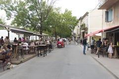 Quai Rouget de l'Isle, L'Isle-sur-la-Sorgue. Quai Rouget de l'Isle street in L'Isle-sur-la-Sorgue, France. L'Isle-sur-la-Sorgue is a town and commune on the Stock Images