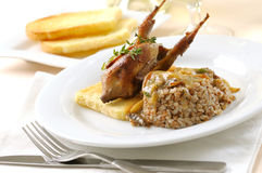 Quail with buckwheat cereal royalty free stock photography