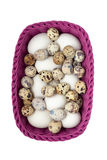 Quail and chicken eggs in purple basket Stock Images