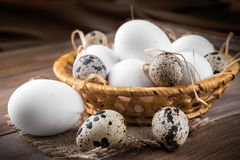 Quail and chicken eggs in a wicker basket Royalty Free Stock Photos
