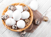 Quail and chicken eggs in a wicker basket Stock Image
