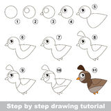 Quail. Drawing tutorial. Royalty Free Stock Photography