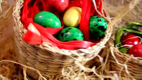 Quail Easter eggs in baskets stock video footage