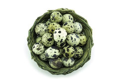 Quail egg in the basket Royalty Free Stock Image
