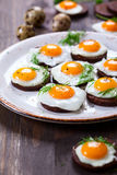 Quail egg canapes Stock Photo