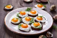 Quail egg canapes Royalty Free Stock Photo