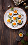 Quail egg canapes Stock Image