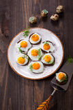 Quail egg canapes Royalty Free Stock Photo