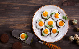 Quail egg canapes Royalty Free Stock Photography