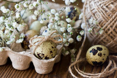 Quail egg is decorated with a bow of twine, baby`s breath flowers. Festive Easter decor. Royalty Free Stock Images