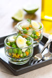 Quail egg and pea salad Royalty Free Stock Photo