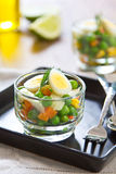 Quail egg and pea salad Royalty Free Stock Image