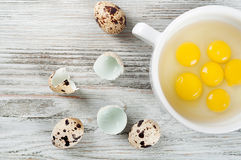 Quail egg yolks in a white plate Royalty Free Stock Photography