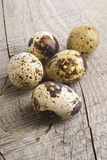 Quail eggs. On a wooden table Stock Photography