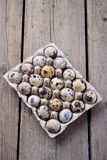 Quail eggs. In the packing Stock Images