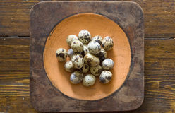 Quail eggs. On wood table Royalty Free Stock Images