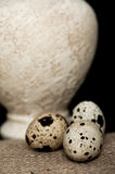 Quail eggs and an antique vase Royalty Free Stock Photo