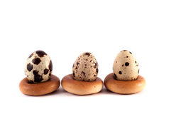 Quail eggs on the bagel Royalty Free Stock Photography