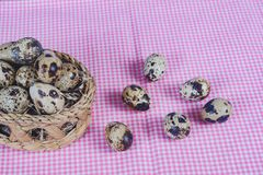 Quail eggs in bamboo basket On the old wood. Table background royalty free stock images