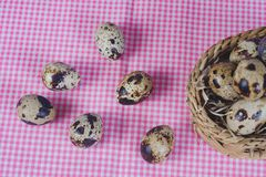 Quail eggs in bamboo basket On the old wood. Table background royalty free stock photography