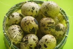 Quail Eggs in Basket Stock Image