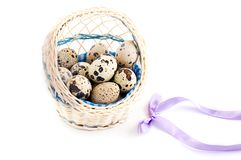 Quail eggs in basket Royalty Free Stock Images