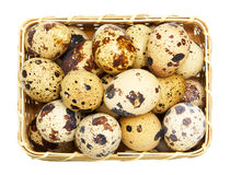 Quail eggs in basket. On white Royalty Free Stock Photo