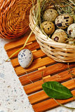 Quail eggs in a basket. Easter. Royalty Free Stock Photography