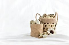 Quail eggs in basket filled  on white background.  Royalty Free Stock Photography