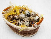 Quail eggs in basket. On a old white wooden background Stock Photo
