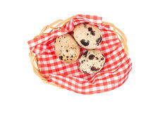 Quail eggs in basket. Raw quail eggs in solomani basket on white background, top view Stock Images